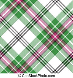 plaid, modello, diagonale, seamless, verde, tartan, bianco