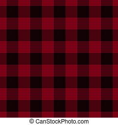 plaid, nero, tessuto, fondo, rosso