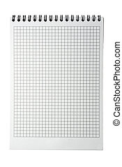 Plaid notebook page with binder isolated on white...
