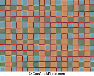 Plaid pattern, blue green and brown