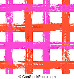 Plaid pattern with crossing wide stripes in bright - Vector...