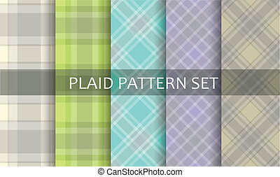 plaid, patterns., vettore, set.