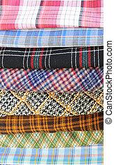 Plaid pieces of cloth
