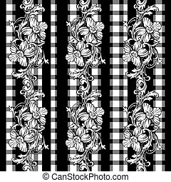 plaid ruhaanyag, motívum, ornament., seamless, válogató, barokk