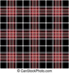 plaid, &, seamless, nero, bianco rosso