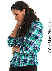 Plaid shirt - Beautiful tall Indian woman in a plaid shirt