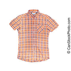 plaid shirt over a white background