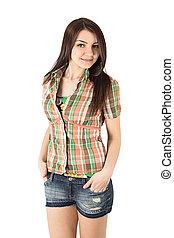 plaid shirt woman isolated on white background