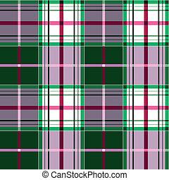 plaid, tartan, fabric, grønne, lyserød