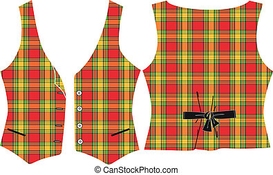 Scalable vectorial image representing a plaid vest, isolated on white.