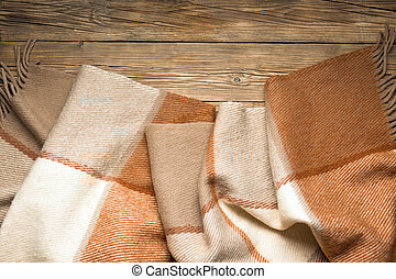 Plaid, wool, wooden background, comfort