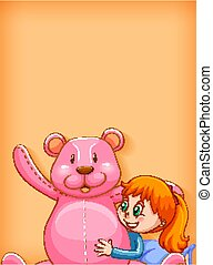 Plain background with girl and big teddy bear
