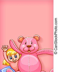 Plain background with girl and pink teddybear illustration