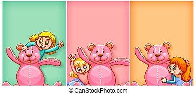 Plain background with happy girl and pink teddy bear