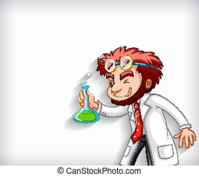 Plain background with mad scientist holding chemical