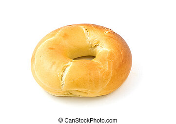Plain bagel isolated on white background with copy space, horizontal format