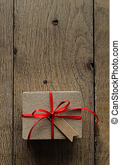 Plain Brown Gift Box with Red Ribbon and Vintage Style Blank Tag
