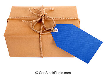 Plain brown paper package or parcel, blue gift tag or label and ribbon isolated on white background, top view