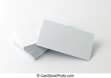 Close up of plain business cards on white background