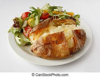 Plain Butter Jacket Potato with side salad - A plain butter...