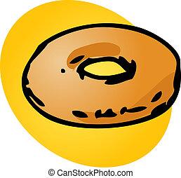 Plain donut, illustration of sweet baked dessert pastries
