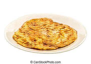 Plain egg omelette on white plate