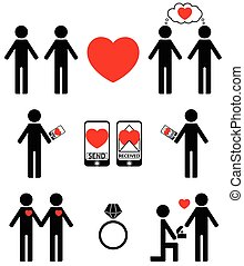 Plain Falling in love icons