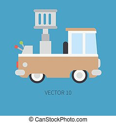 Plain flat vector color icon service staff car with hydraulic lift. Commercial vehicle. Cartoon vintage style. Cargo transportation. Maintenance. Tow auto. Illustration and element for your design.