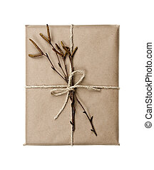 Plain gift with natural decorations