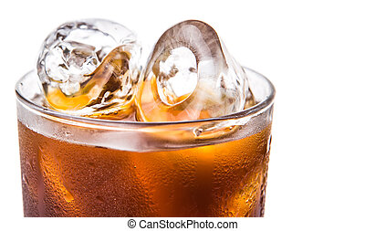 Plain Iced Coffee - Plain ice coffee over white background