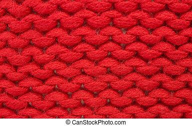 Plain knitting - Sample of plain knitting stitch. Red ...
