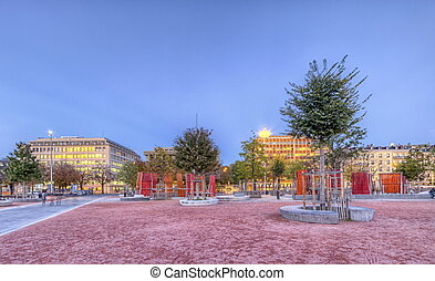 Plain of Plainpalais, Geneva, Switzerland, HDR - Plain of...