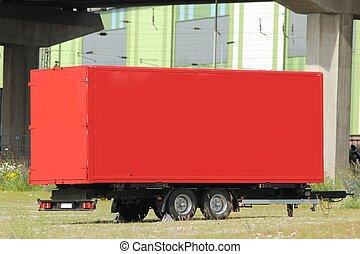 plain red truck trailer