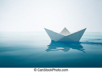 plain sailing - paper boat sailing on water with waves and...