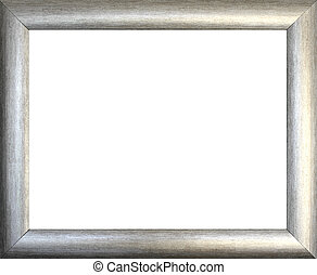 Plain silver picture frame on white background