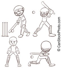 Plain sketches of the cricket players