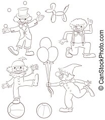 Illustration of the plain sketches of the playful clowns on a white background