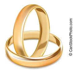 Plain smooth gold shiny wedding rings isolated illustration...