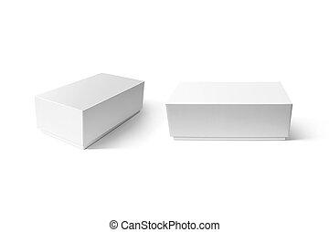 Plain white carton smart phone box mockup set, clipping...