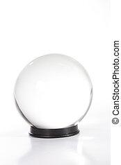 Plain white cystal ball against white - Crystal ball against...
