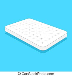 plain white mattress. - Double white mattress in flat style...