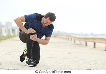 plaindre, douleur, souffrance, genou, sport, joggeur, après
