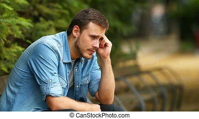 plaindre, homme, parc, triste