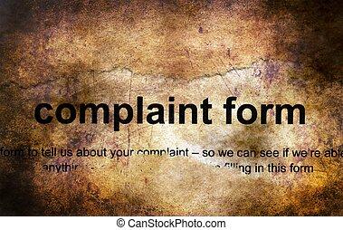plainte, concept, grunge, formulaire