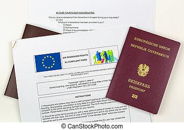 plainte, downgrading, formulaire, intéressé, nié, contre, annulation, ligne aérienne, passeport, delay., eu, autrichien, électronique, embarquement