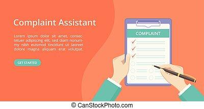 plainte, formulaire, atterrissage, main, presse-papiers, page