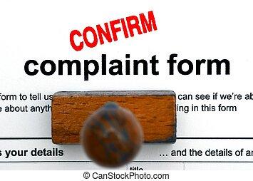 plainte, formulaire
