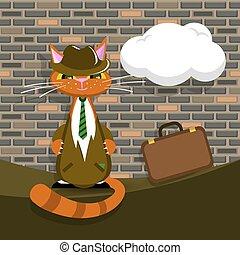 plainte orange, vecteur, serviette, chat