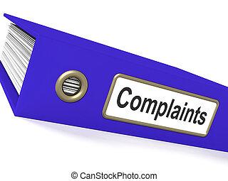 plainte, rapports, disques, fichier, plaintes, spectacles