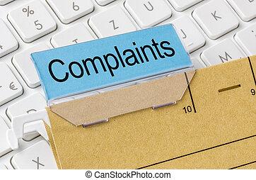 plaintes, brun, étiqueté, dossier, fichier
